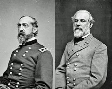 Generals George G. Meade and Robert E. Lee